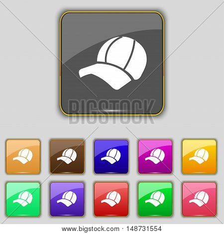 Ball Cap Icon Sign. Set With Eleven Colored Buttons For Your Site. Vector