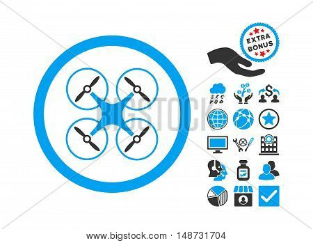Copter icon with bonus elements. Vector illustration style is flat iconic bicolor symbols, blue and gray colors, white background.