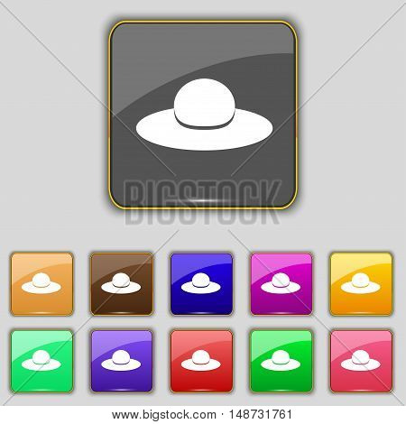 Woman Hat Icon Sign. Set With Eleven Colored Buttons For Your Site. Vector