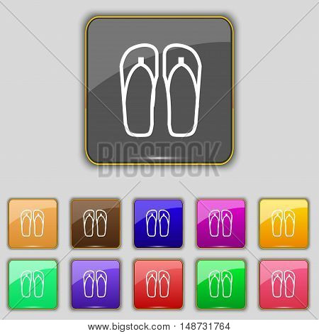 Flip-flops. Beach Shoes. Sand Sandals Icon Sign. Set With Eleven Colored Buttons For Your Site. Vect
