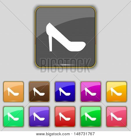 Woman Shoes Icon Sign. Set With Eleven Colored Buttons For Your Site. Vector