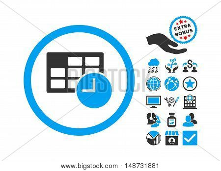 Date and Time icon with bonus clip art. Vector illustration style is flat iconic bicolor symbols, blue and gray colors, white background.