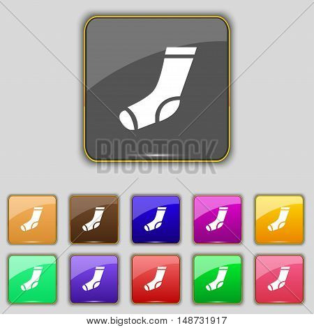 Socks Icon Sign. Set With Eleven Colored Buttons For Your Site. Vector