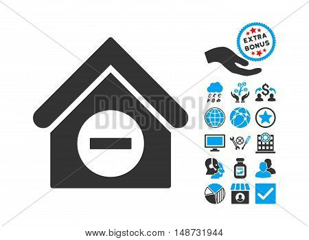 Deduct Building pictograph with bonus pictograph collection. Vector illustration style is flat iconic bicolor symbols, blue and gray colors, white background.
