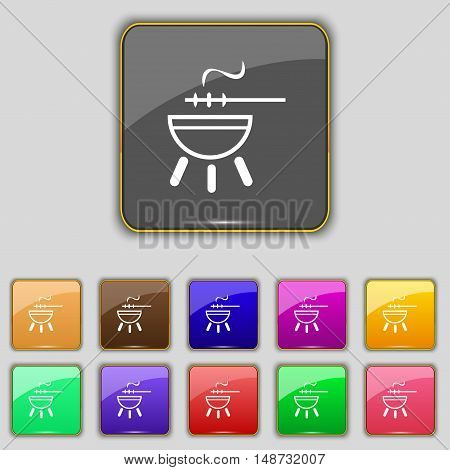 Barbecue Icon Sign. Set With Eleven Colored Buttons For Your Site. Vector