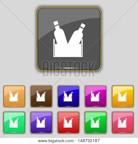 Beer Bottle Icon Sign. Set With Eleven Colored Buttons For Your Site. Vector