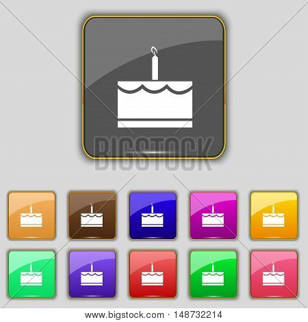 Birthday Cake Icon Sign. Set With Eleven Colored Buttons For Your Site. Vector