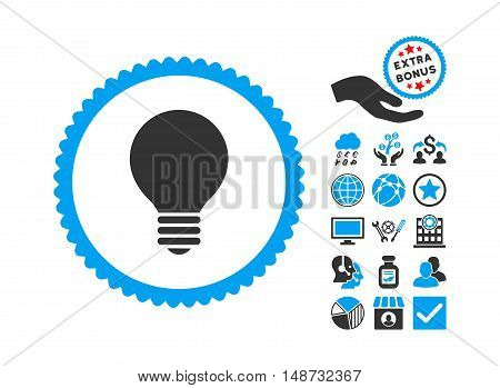Electric Bulb pictograph with bonus pictogram. Vector illustration style is flat iconic bicolor symbols, blue and gray colors, white background.