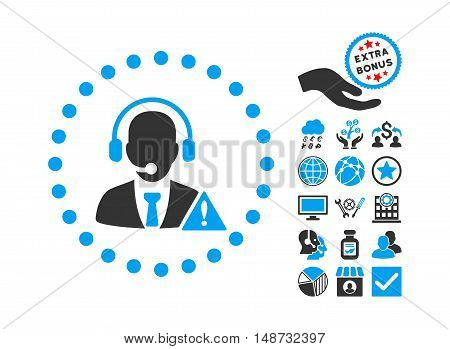 Emergency Service pictograph with bonus pictogram. Vector illustration style is flat iconic bicolor symbols, blue and gray colors, white background.