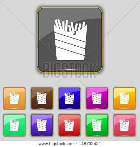 Fry Icon Sign. Set With Eleven Colored Buttons For Your Site. Vector