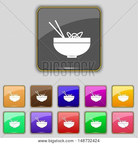 Spaghetti Icon Sign. Set With Eleven Colored Buttons For Your Site. Vector