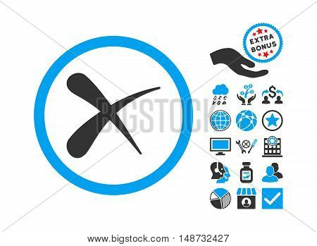 Erase pictograph with bonus icon set. Vector illustration style is flat iconic bicolor symbols, blue and gray colors, white background.