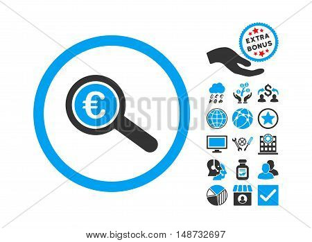 Euro Financial Audit icon with bonus clip art. Vector illustration style is flat iconic bicolor symbols, blue and gray colors, white background.