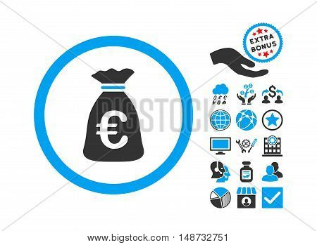 Euro Money Bag pictograph with bonus icon set. Vector illustration style is flat iconic bicolor symbols, blue and gray colors, white background.