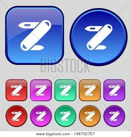 Pocket Knife Icon Sign. A Set Of Twelve Vintage Buttons For Your Design. Vector