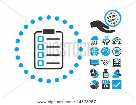 Examination pictograph with bonus symbols. Vector illustration style is flat iconic bicolor symbols, blue and gray colors, white background.