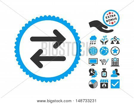 Flip Horizontal pictograph with bonus pictograph collection. Vector illustration style is flat iconic bicolor symbols, blue and gray colors, white background.