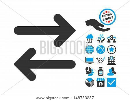 Flip Horizontal pictograph with bonus icon set. Vector illustration style is flat iconic bicolor symbols, blue and gray colors, white background.
