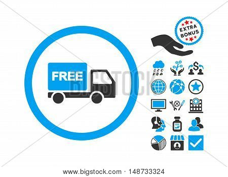 Free Delivery icon with bonus icon set. Vector illustration style is flat iconic bicolor symbols, blue and gray colors, white background.