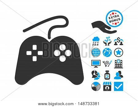 Gamepad icon with bonus pictograph collection. Vector illustration style is flat iconic bicolor symbols, blue and gray colors, white background.