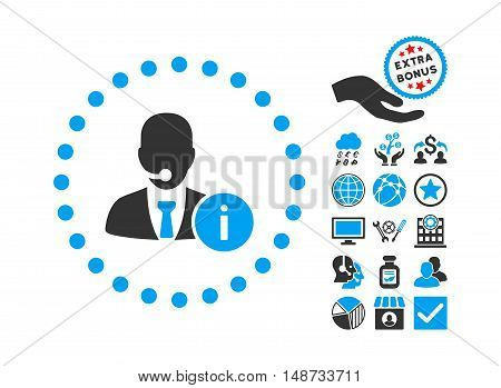 Help Desk icon with bonus elements. Vector illustration style is flat iconic bicolor symbols, blue and gray colors, white background.