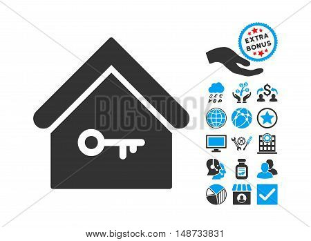 Home Key pictograph with bonus elements. Vector illustration style is flat iconic bicolor symbols, blue and gray colors, white background.