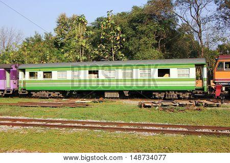 CHIANGMAI THAILAND -JANUARY 16 2013: Passenger class 3 car no 451. For train no52 from chiangmai to bangkok. Photo at Chiangmai railway station.