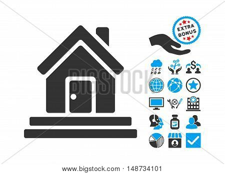 House Front Door pictograph with bonus icon set. Vector illustration style is flat iconic bicolor symbols, blue and gray colors, white background.