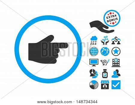 Index Finger pictograph with bonus clip art. Vector illustration style is flat iconic bicolor symbols, blue and gray colors, white background.