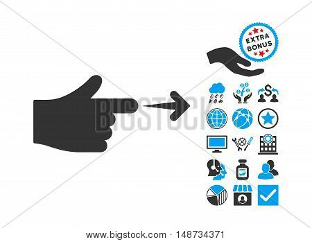 Index Hand pictograph with bonus design elements. Vector illustration style is flat iconic bicolor symbols, blue and gray colors, white background.