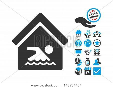Indoor Water Pool pictograph with bonus pictures. Vector illustration style is flat iconic bicolor symbols, blue and gray colors, white background.