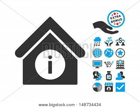 Info Building icon with bonus icon set. Vector illustration style is flat iconic bicolor symbols, blue and gray colors, white background.