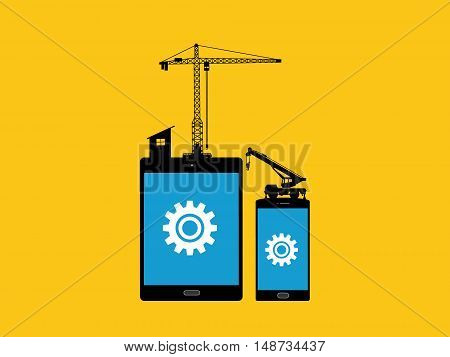 mobile apps development concept with tab and smartphone with gear and construction tools as illustration