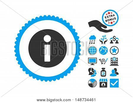 Information pictograph with bonus elements. Vector illustration style is flat iconic bicolor symbols, blue and gray colors, white background.
