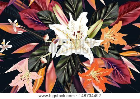 Fashion vector pattern with flowers and palm leafs on a tropical theme for design