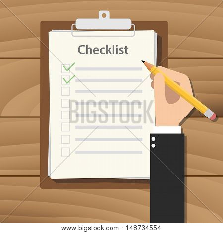 clipboard checklist productivity hand check flat vector with hand holding pencil vector