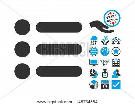 Items pictograph with bonus pictures. Vector illustration style is flat iconic bicolor symbols, blue and gray colors, white background.