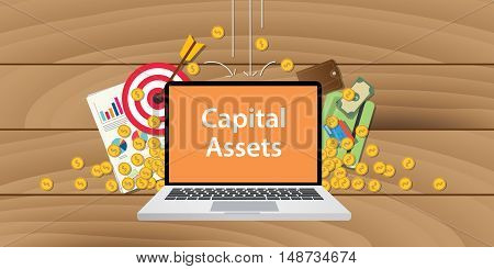 capital assets illustration written on text laptop with paper document gold coin graph and chart with wooden background