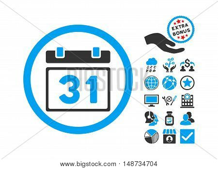 Last Month Day pictograph with bonus images. Vector illustration style is flat iconic bicolor symbols, blue and gray colors, white background.