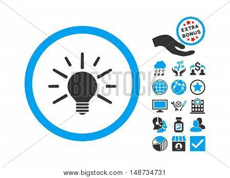 Light Bulb icon with bonus pictures. Vector illustration style is flat iconic bicolor symbols, blue and gray colors, white background.