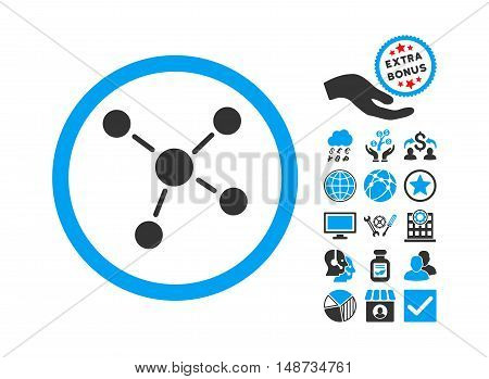 Links pictograph with bonus pictograph collection. Vector illustration style is flat iconic bicolor symbols, blue and gray colors, white background.