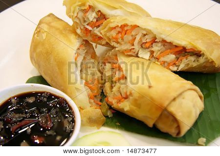 Fried chinese spring rolls traditional vegetable wraps