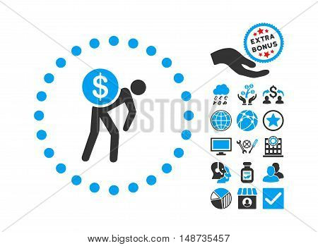 Money Courier pictograph with bonus elements. Vector illustration style is flat iconic bicolor symbols, blue and gray colors, white background.