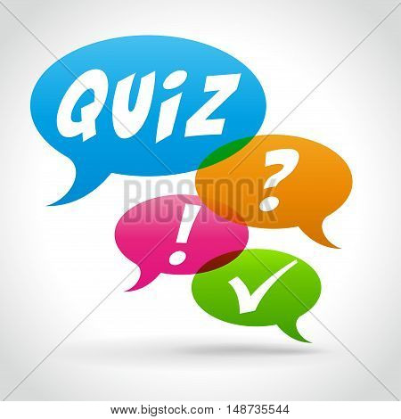 Illustration of quiz speech bubbles on white background