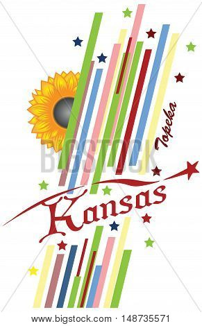 Abstract symbols of the State of Kansas in the United States. Vector illustration.