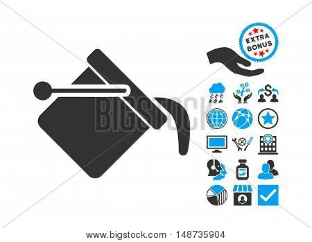 Paint Bucket pictograph with bonus pictograph collection. Vector illustration style is flat iconic bicolor symbols, blue and gray colors, white background.