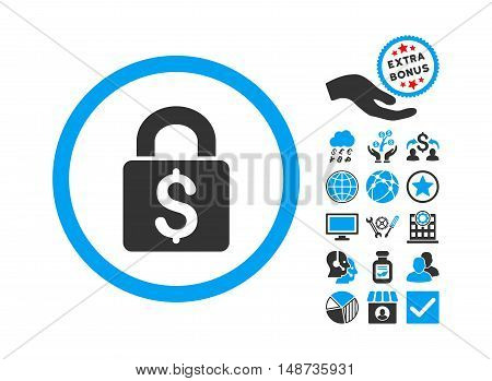 Pay Lock icon with bonus pictogram. Vector illustration style is flat iconic bicolor symbols, blue and gray colors, white background.
