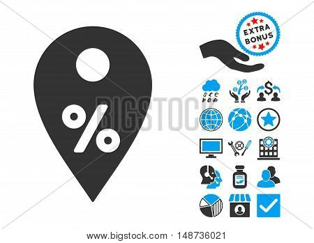 Percent Map Marker icon with bonus design elements. Vector illustration style is flat iconic bicolor symbols, blue and gray colors, white background.