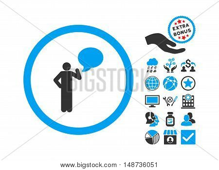 Person Idea icon with bonus pictograph collection. Vector illustration style is flat iconic bicolor symbols, blue and gray colors, white background.