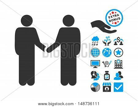 Persons Handshake pictograph with bonus clip art. Vector illustration style is flat iconic bicolor symbols, blue and gray colors, white background.